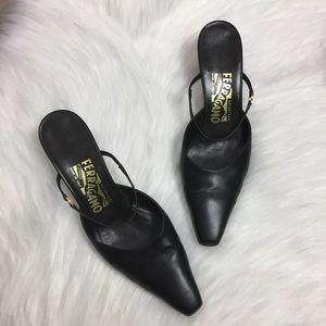 Salvatore Ferragamo Black Kitten Heels